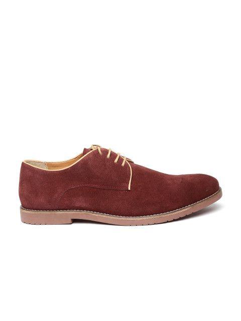 80f8995288c6 Buy Carlton London Men Burgundy Solid Suede Regular Derby Shoes - Casual  Shoes for Men