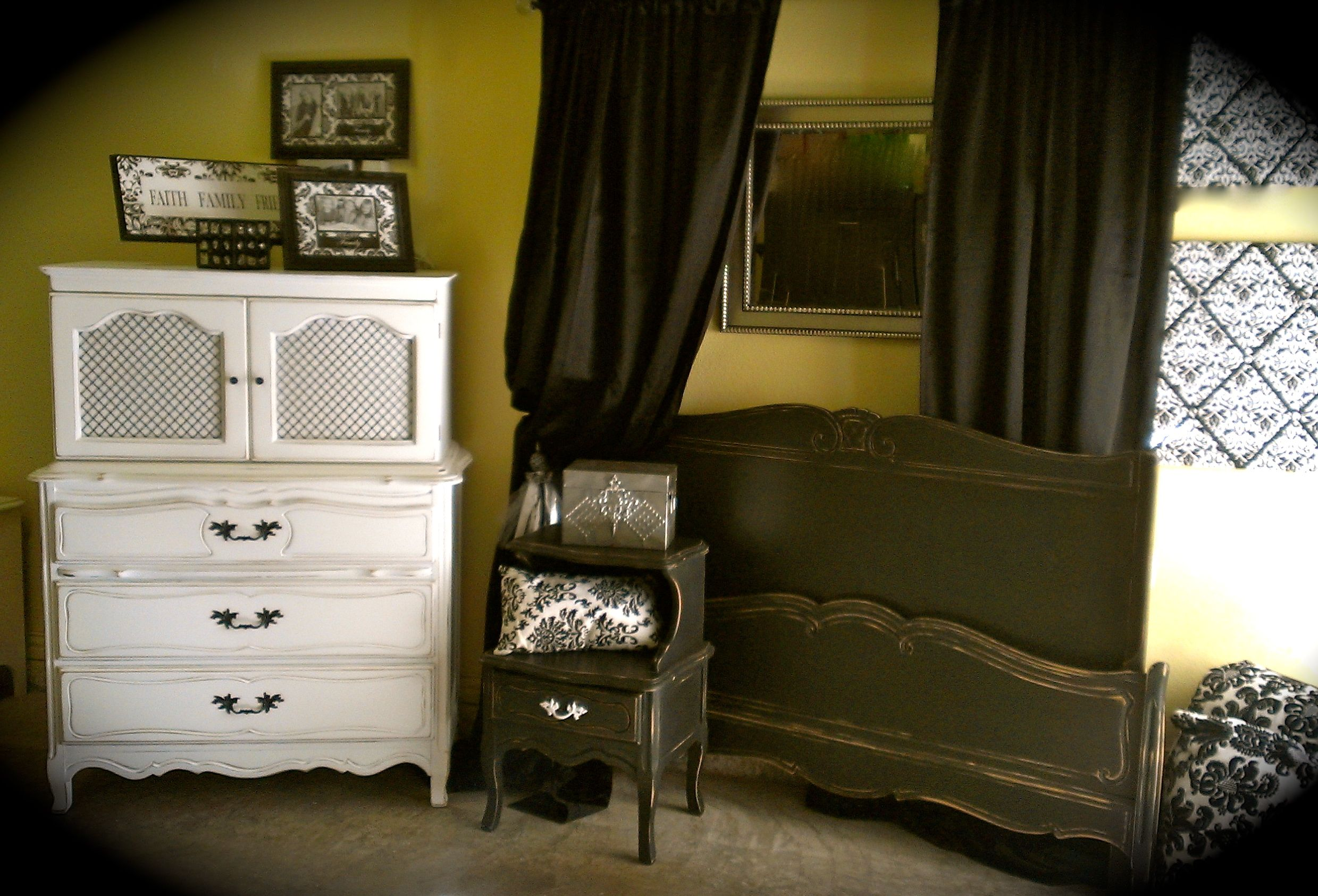 Black and white french bedroom set by Laura Camry Boutique