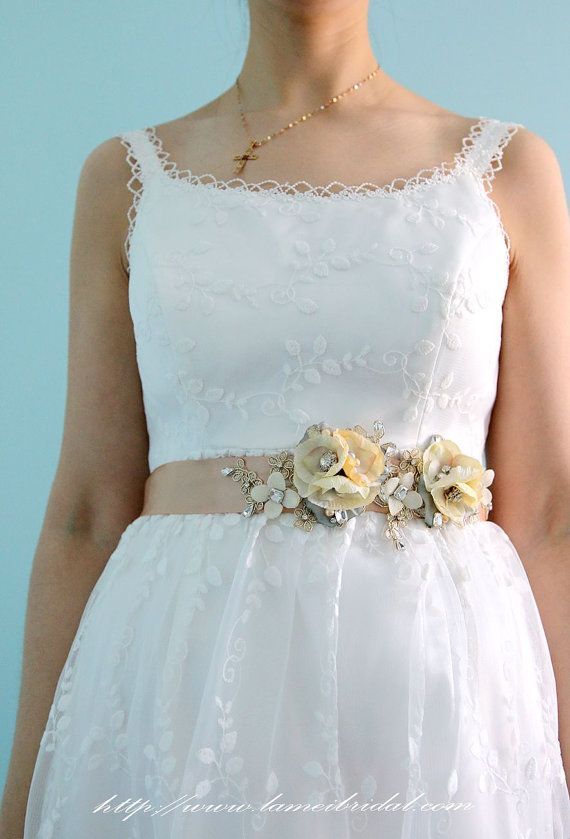 Golden Flower Lace Wedding Bridal Belt with Champagne ribbon , Gold ...