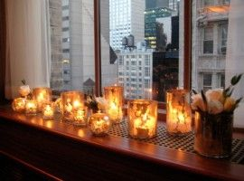 window sill candle decor