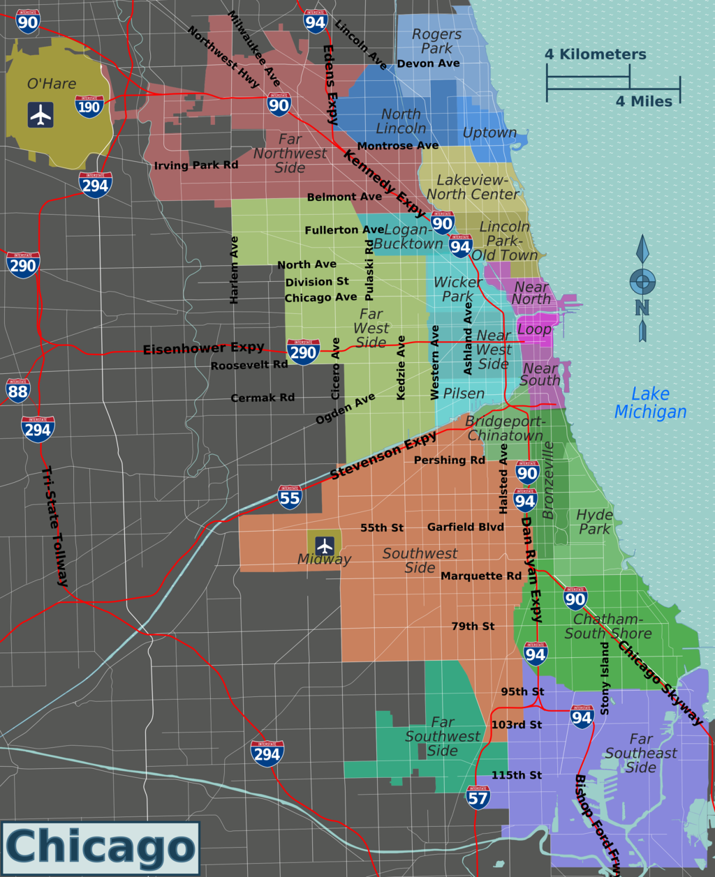 second city chicago map The Sides Of Chicago Simpler Than A Map Of Neighborhoods