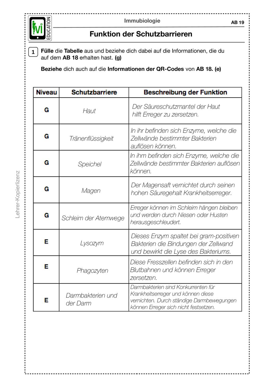 Immunsystem – Unterrichtsmaterial im Fach Biologie   Ausbildung ...