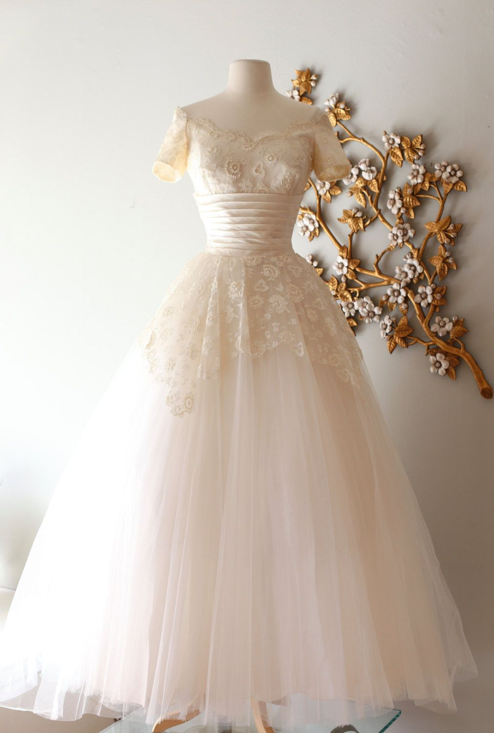 RESERVED/ Vintage 1950s Cahill Wedding Dress With Off The Shoulder ...