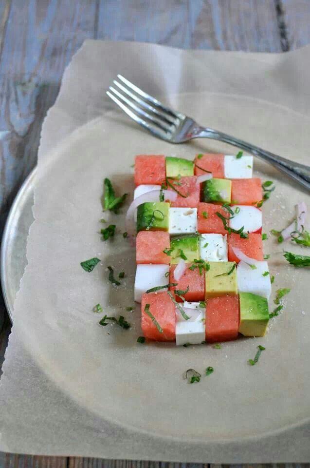 Summer salad: watermelon, avokado and feta