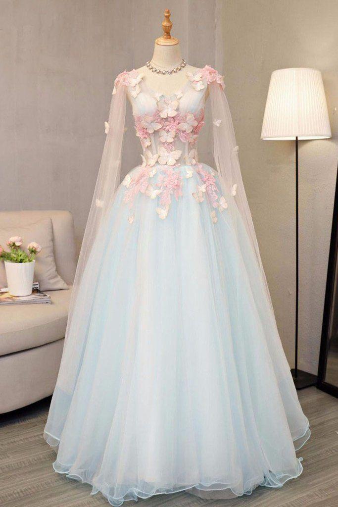 Sky blue tulle ,long A-line prom dress, long V neck ,butterfly party dress,Party Dress