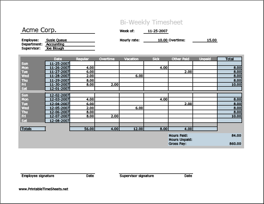 Biweekly Timesheet Horizontal Orientation Work Hours Entered