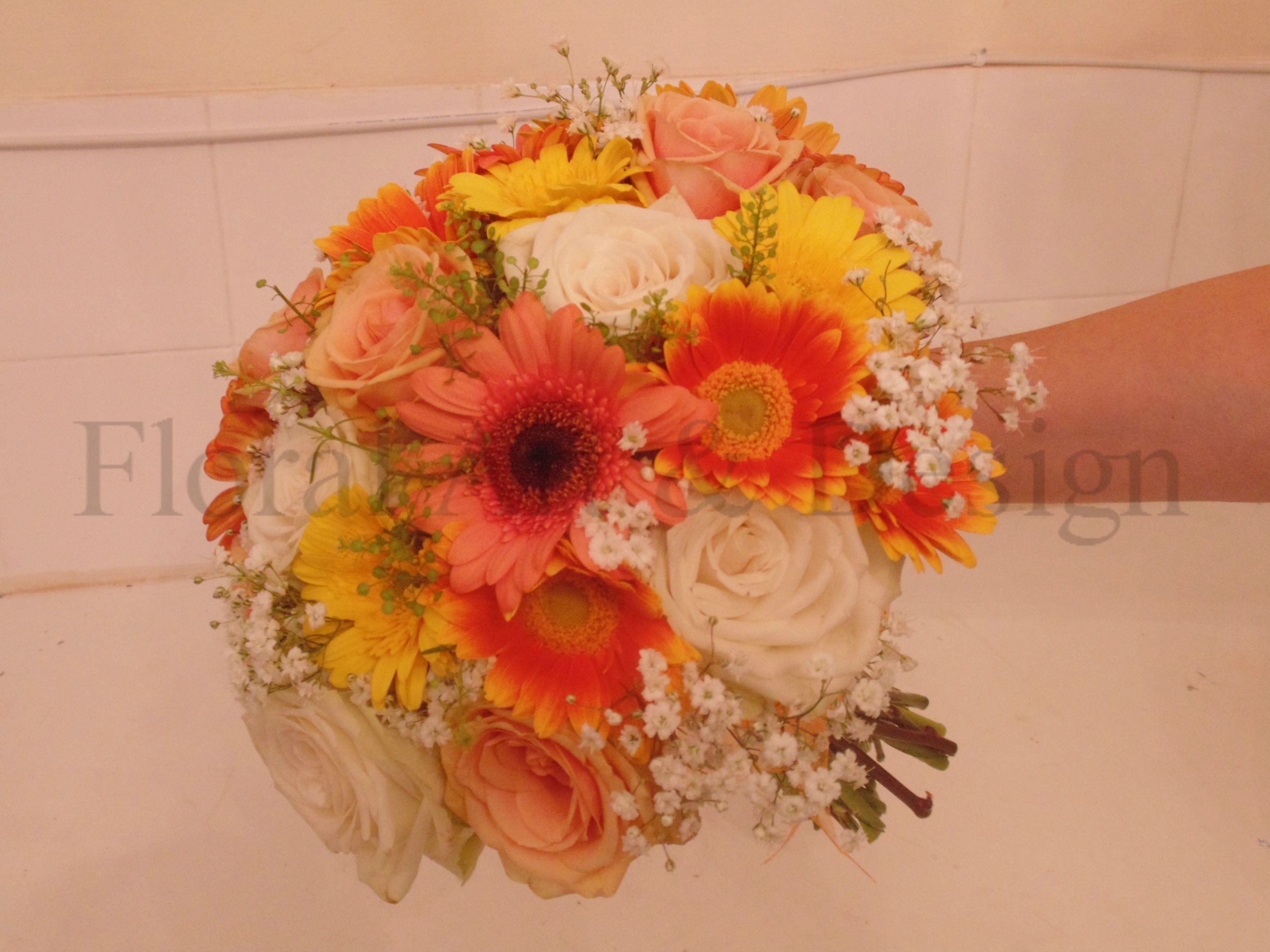 Hand Tied Bridal Bouquet Of Peach And Ivory Roses, Gypsophila