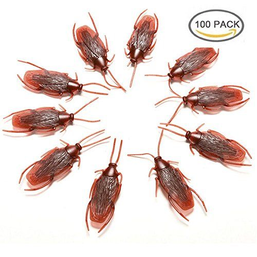 Guestway 100pcs Fake Cockroach Toys Prank Novelty Simulation Bugs Look Real Pranks Jokes Cockroaches