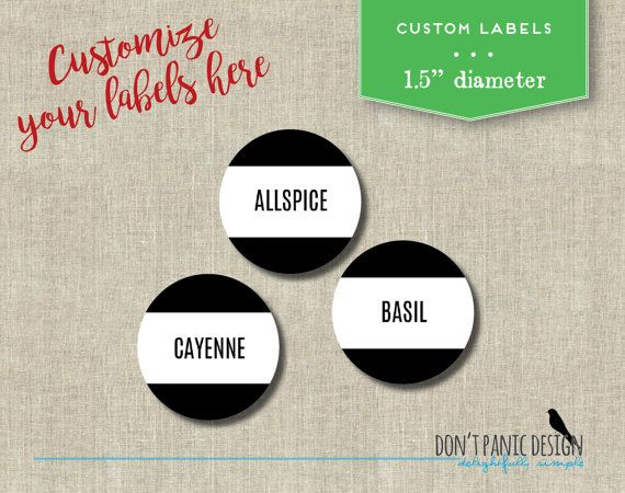 Printable spice jar labels simple modern black round spice jar labels home organizing