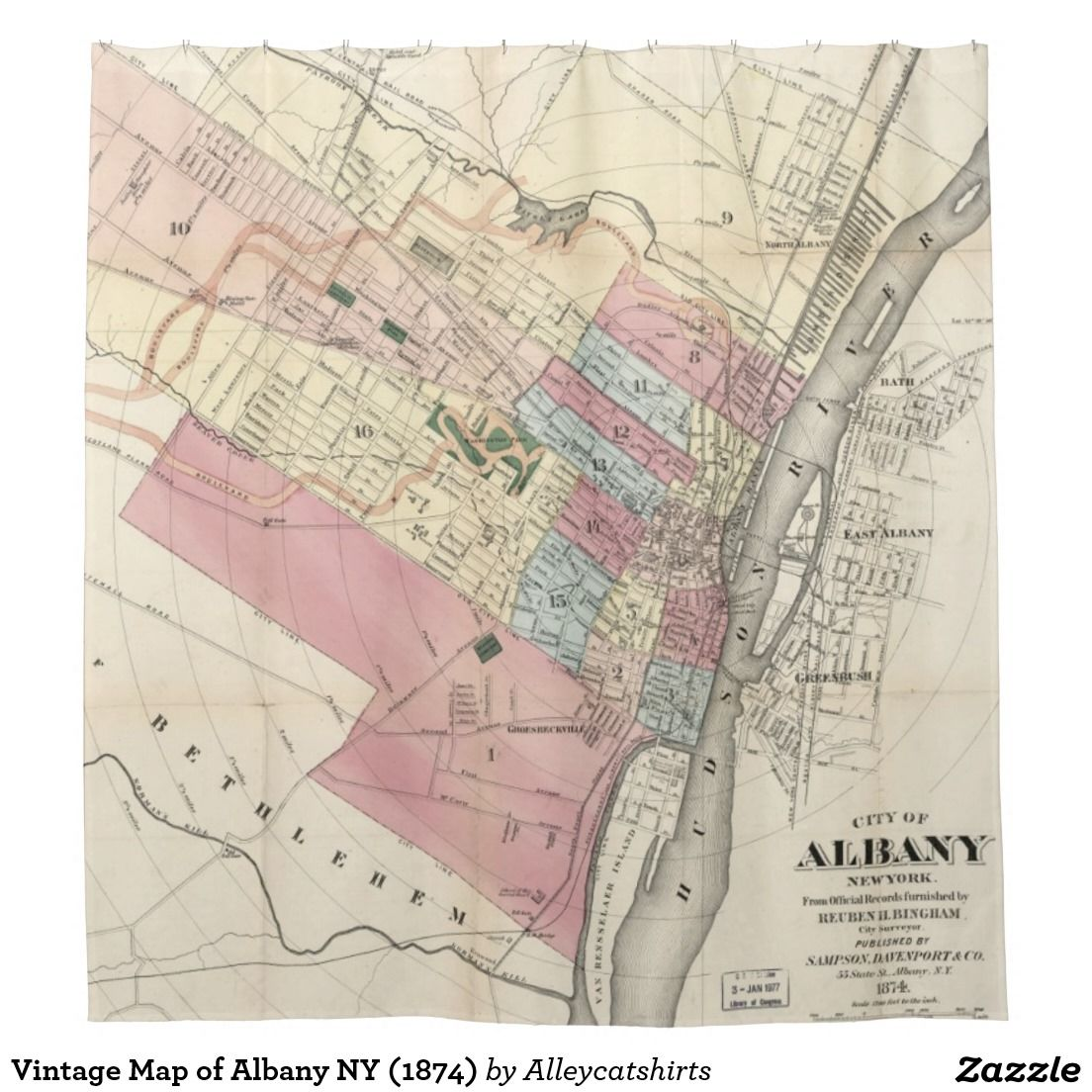 Vintage Map of Albany NY (1874) Shower Curtain | Shower Curtains ...