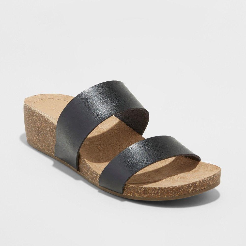 7933adcbeaa Women s Kerryl Wide Width Wedge Footbed Slide Sandals - Universal Thread  Black 7.5W