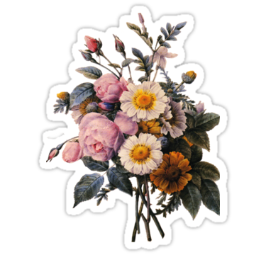Vintage Botanical Art Beautiful Yellow Daisy And Pink Rose Flowers Sticker By Naturematters Floral Stickers Botanical Art Print Stickers