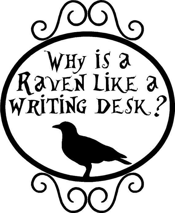 Why Is A Raven Like Writing Desk Vinyl Wall Decal 14 00 Via Etsy