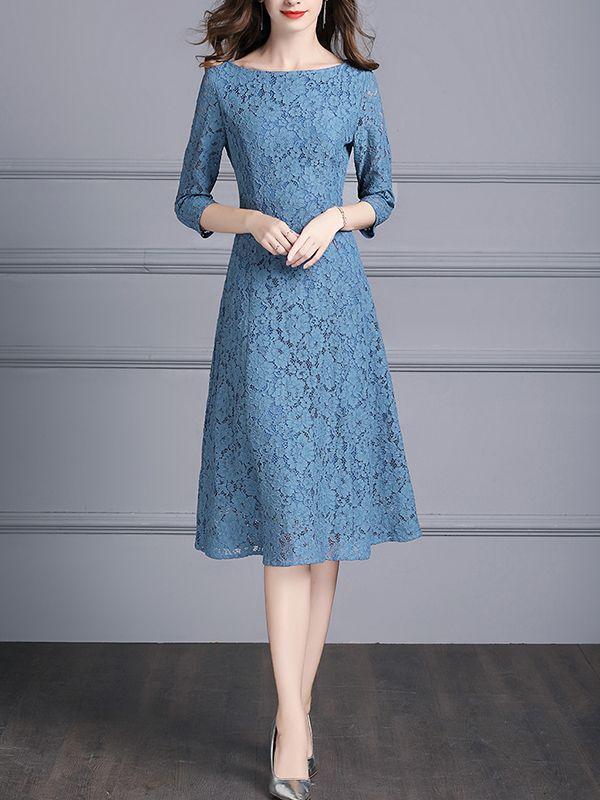Blue Boat Neck Floral Lace Swing Midi Dress