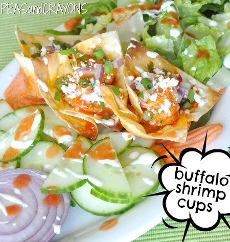 Buffalo Shrimp Won-ton Cups Recipe - Peas and Crayons
