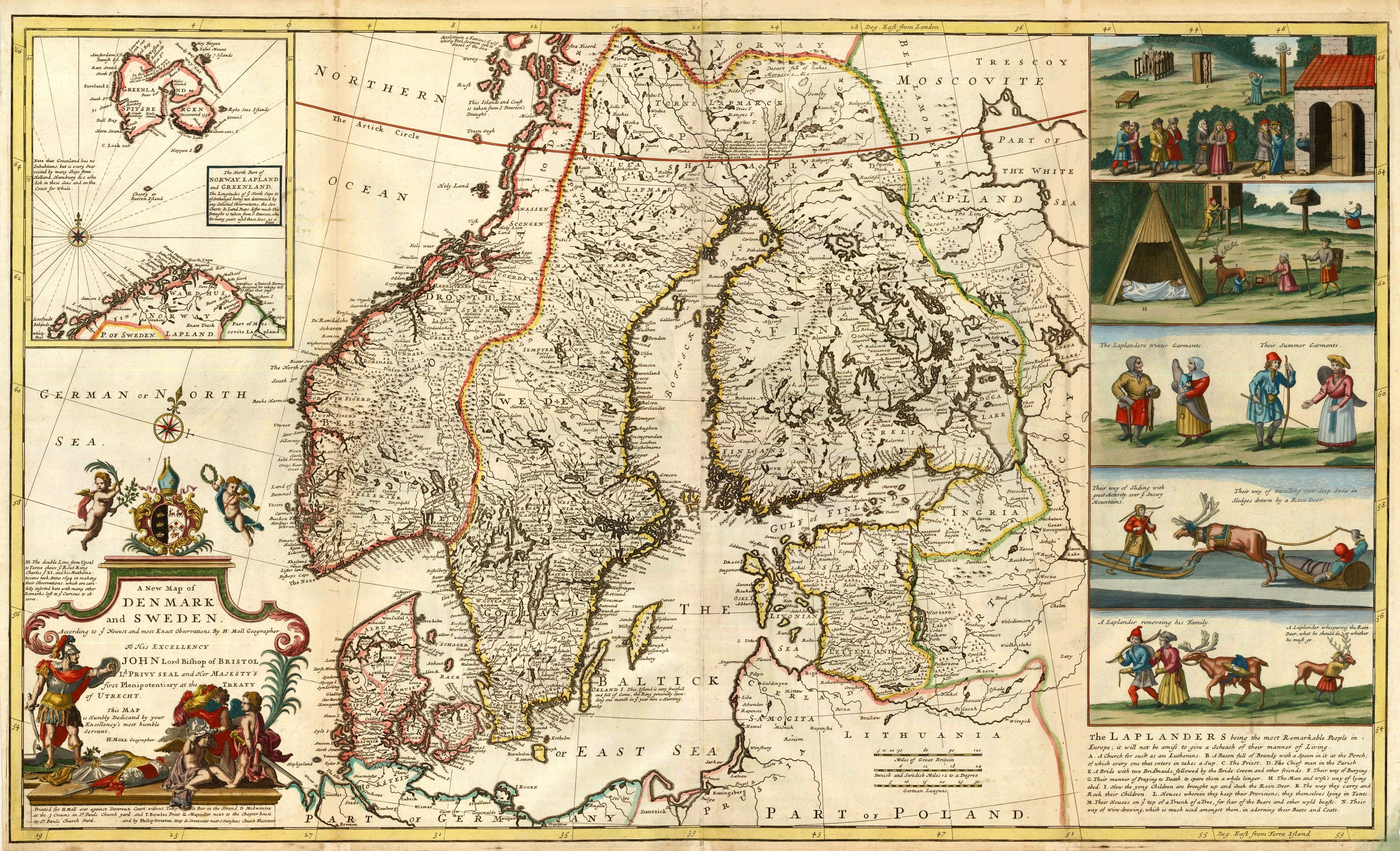 1726 map of denmark and sweden by moll antique maps and prints antique maps 1726 map of denmark and sweden by moll sciox Gallery