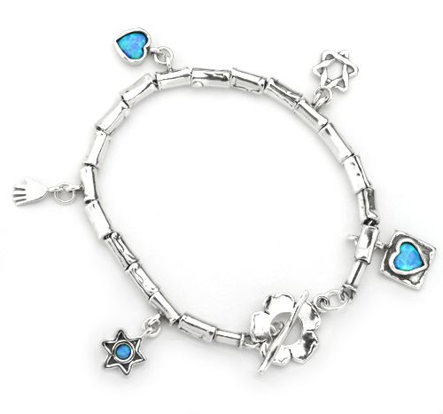 26edf9379 Silver Blue Opal Shablool Star of David Flower Hamsa Heart Charm Bracelet