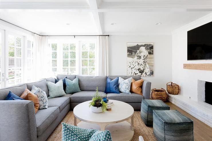 Beautiful Gray And Blue Transitional Living Room Boasts A Plush