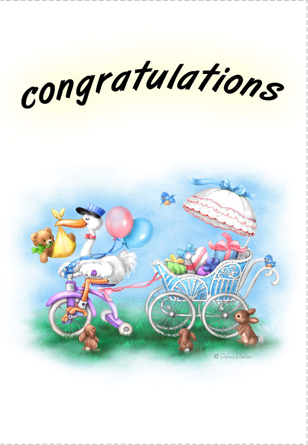 Free Printable New baby Congratulations Greeting Card ...