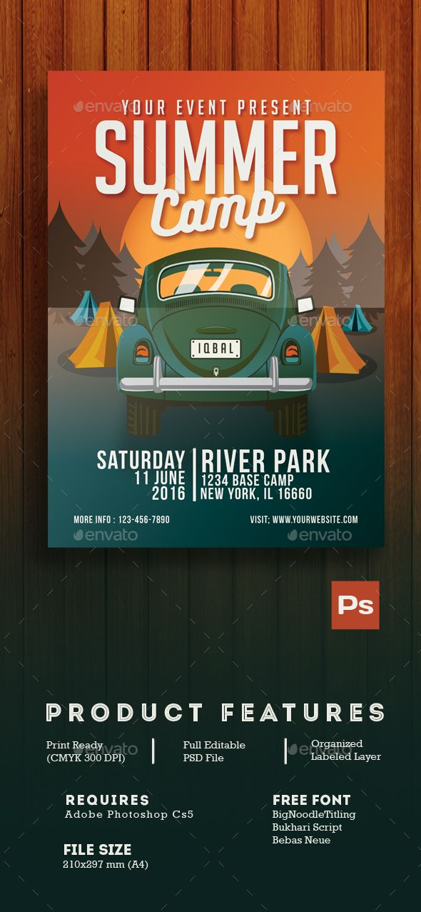 Summer Camp Flyer  Flyer Template Camping And Text Fonts
