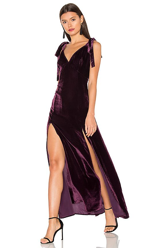 7001aa45336b Velvet dress in plum with double front slits and shoulder ties for  Valentine s Day