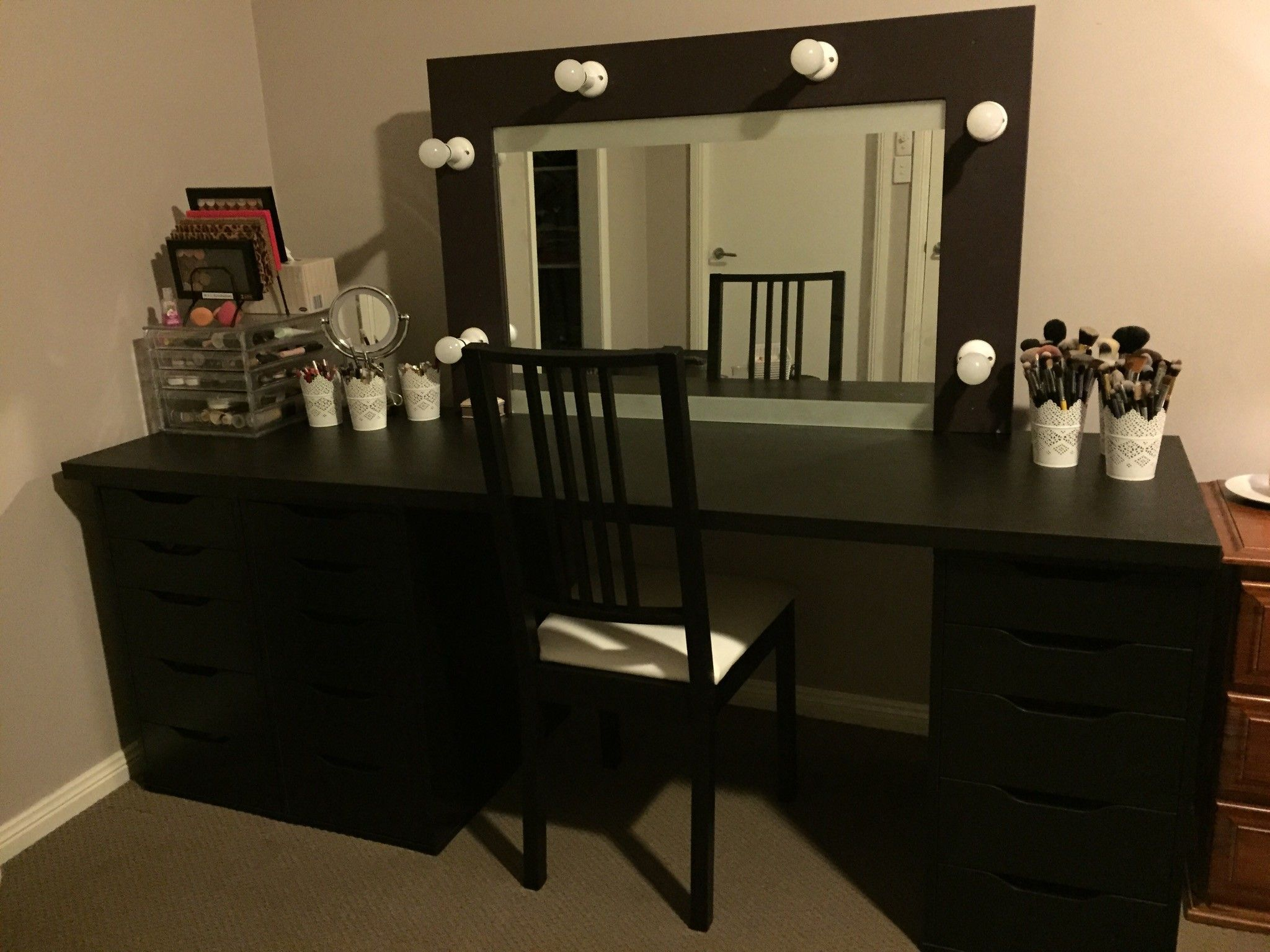 large makeup vanity with drawers. Furniture  dashing large black wooden makeup vanity with drawers and lighting in grey bedroom