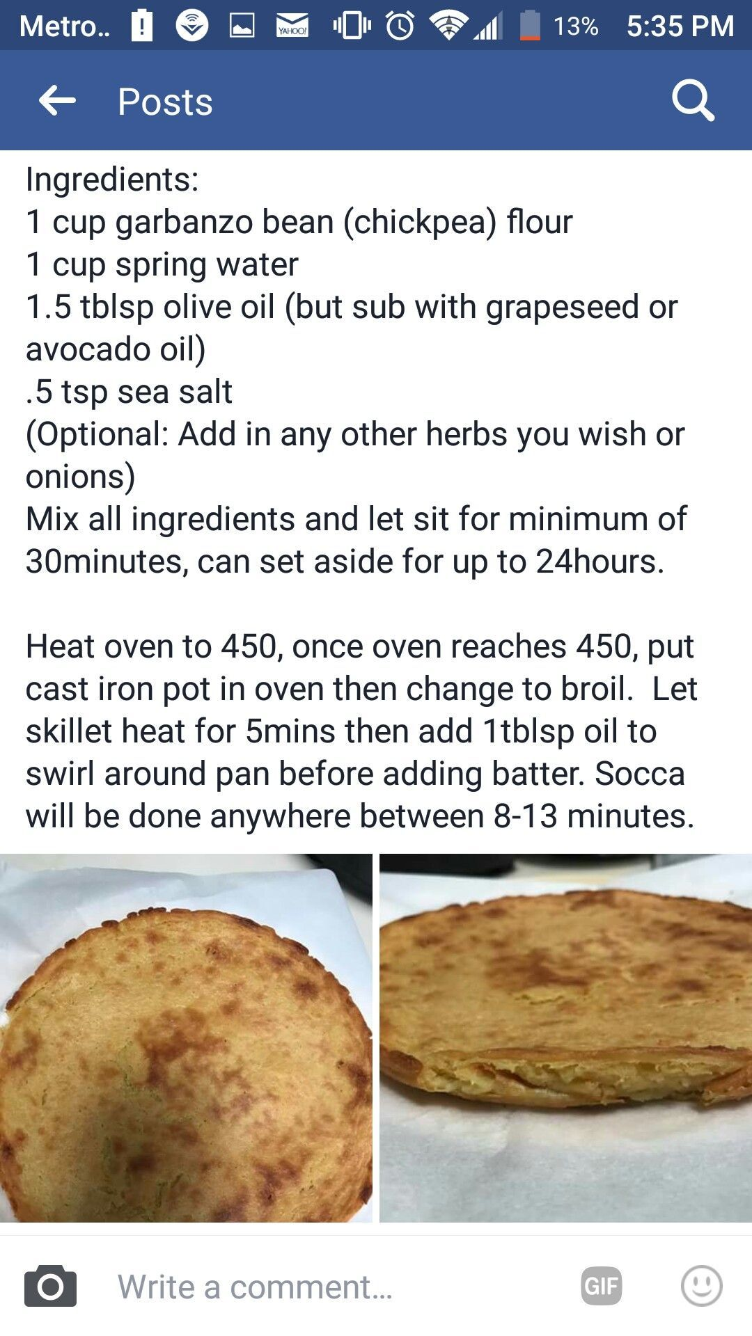 Alkaline Socca recipe  Can be used as flatbread or pizza