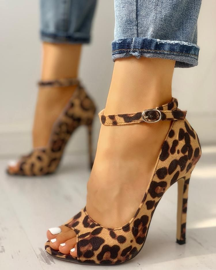 0a9cb4213e5 Leopard Print Peep Toe Ankle Strap Sandal in 2019 | Shoes | Ankle ...
