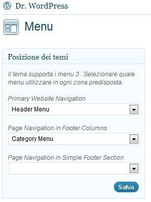 Posizioni menu navigazione WordPress