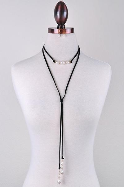 "Elegant freshwater pearl and suede wrapping choker with matching drop earring set. Length: 60"" Lead and Cadmium Free"