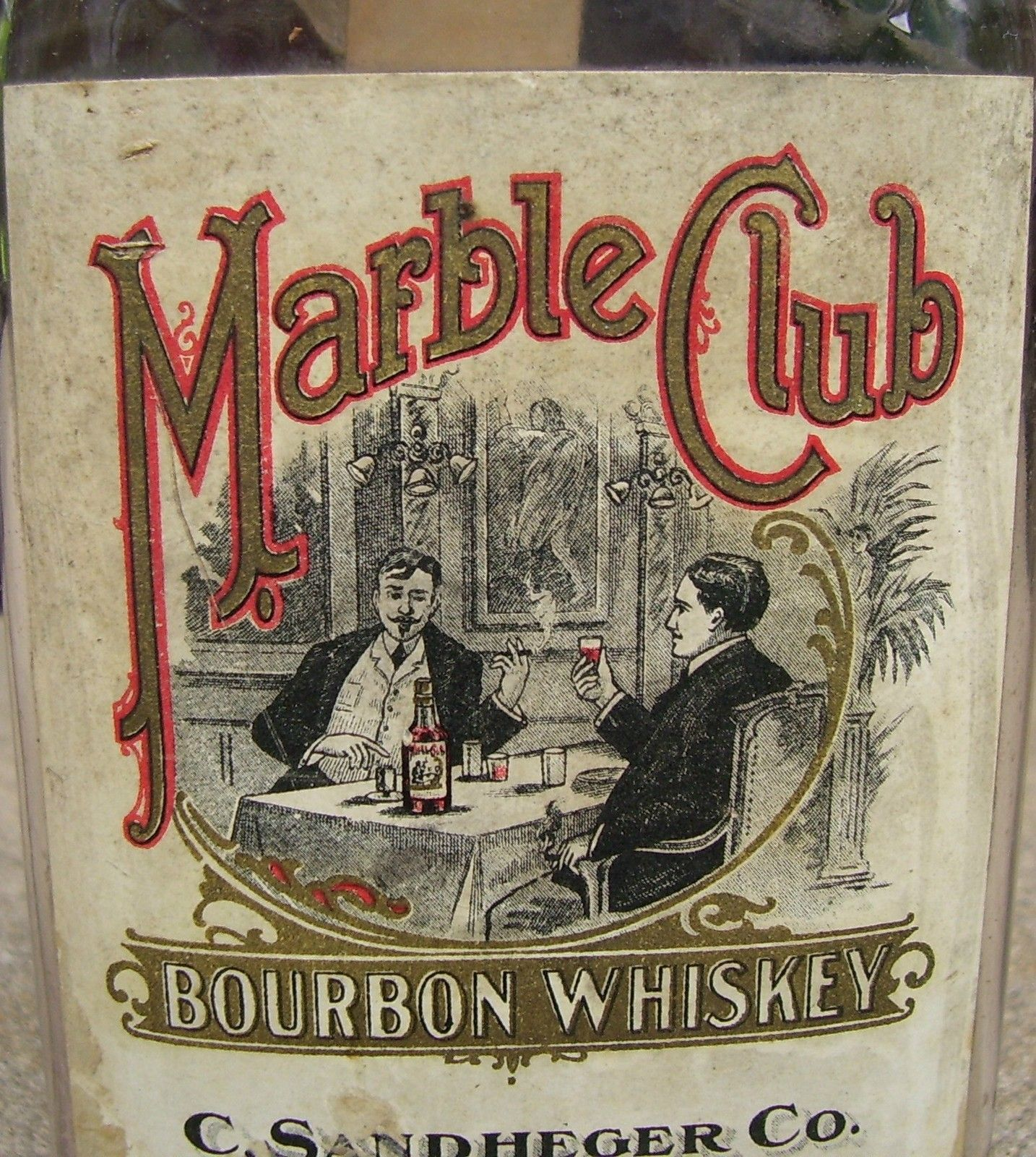 Antique Marble Club Advertising Whiskey Bottle Paper Label