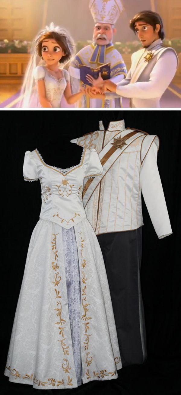 Adult flynn wedding costume custom made disney rapunzel for Wedding dress costume for adults