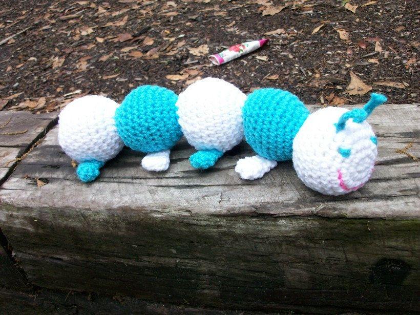 Amigurumi Caterpillar : Amigurumi caterpillar. teal toy caterpillar plush animal. turquoise