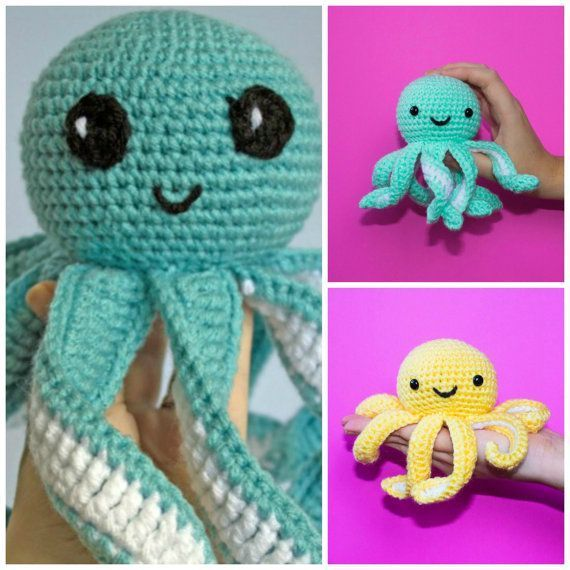 Crochet Octopus Large And Mini Combo Amigurumi Mini Octopus Etsy Octopus Crochet Pattern Crochet Amigurumi Crochet Octopus