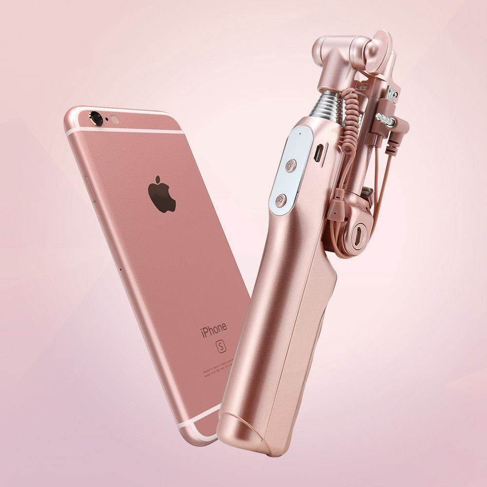 Extendable wired selfie stick with mirror flash led ios