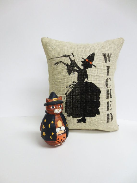 Halloween Witch Screen Print Pillow  Wicked by ecarlateboutique,