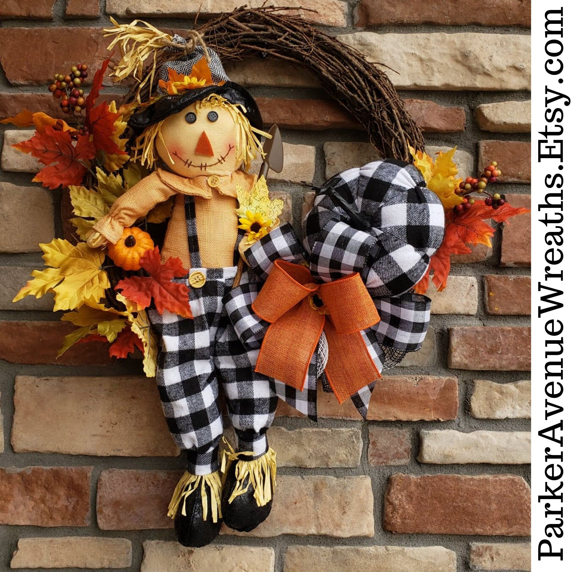 Buffalo Plaid Wreath, Scarecrow Fall Wreath, Autumn Front Door Wreath, Farmhouse Wreath, Country Wreath, Pumpkin, Rustic Double Door Wreaths #doubledoorwreaths