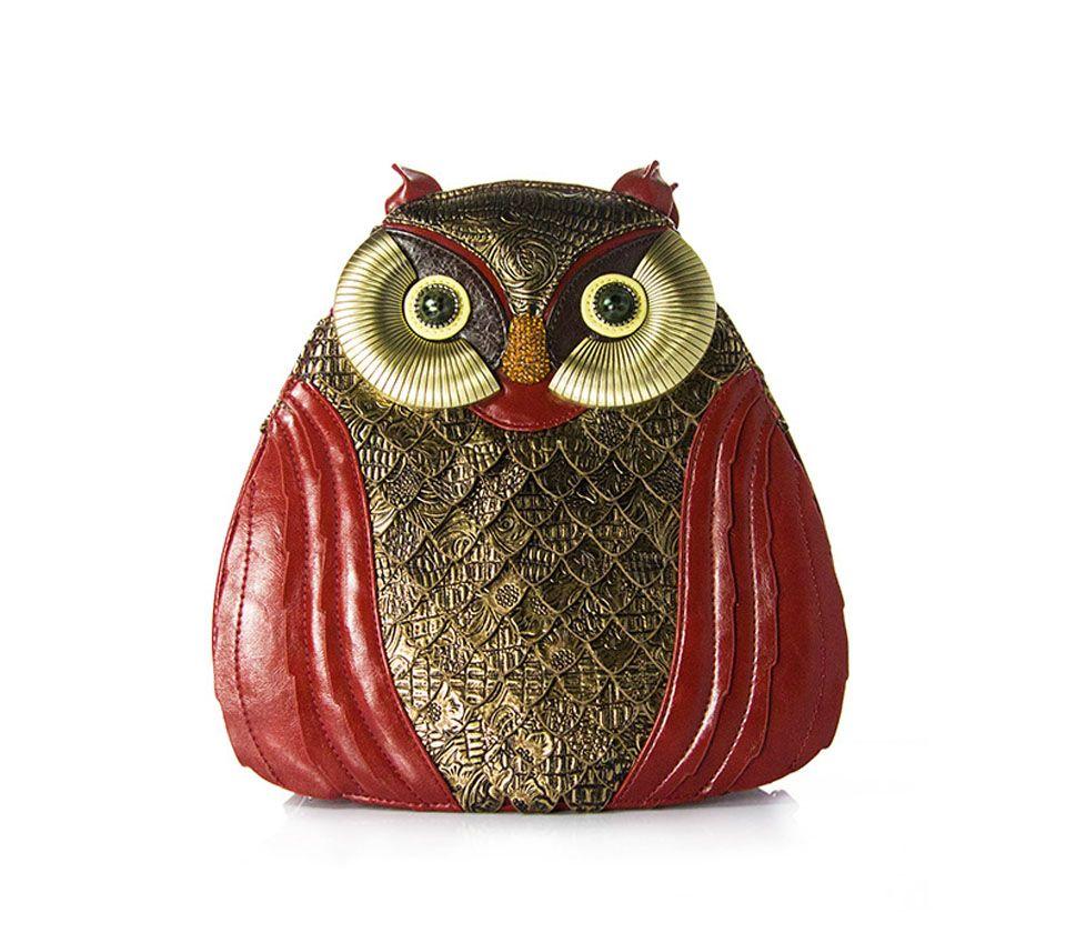 4502312bb8fb ... Bags art female owl bird. Women Delicate Classic Owl Bag Shoulder Bag  Backpack PU Leather Bag