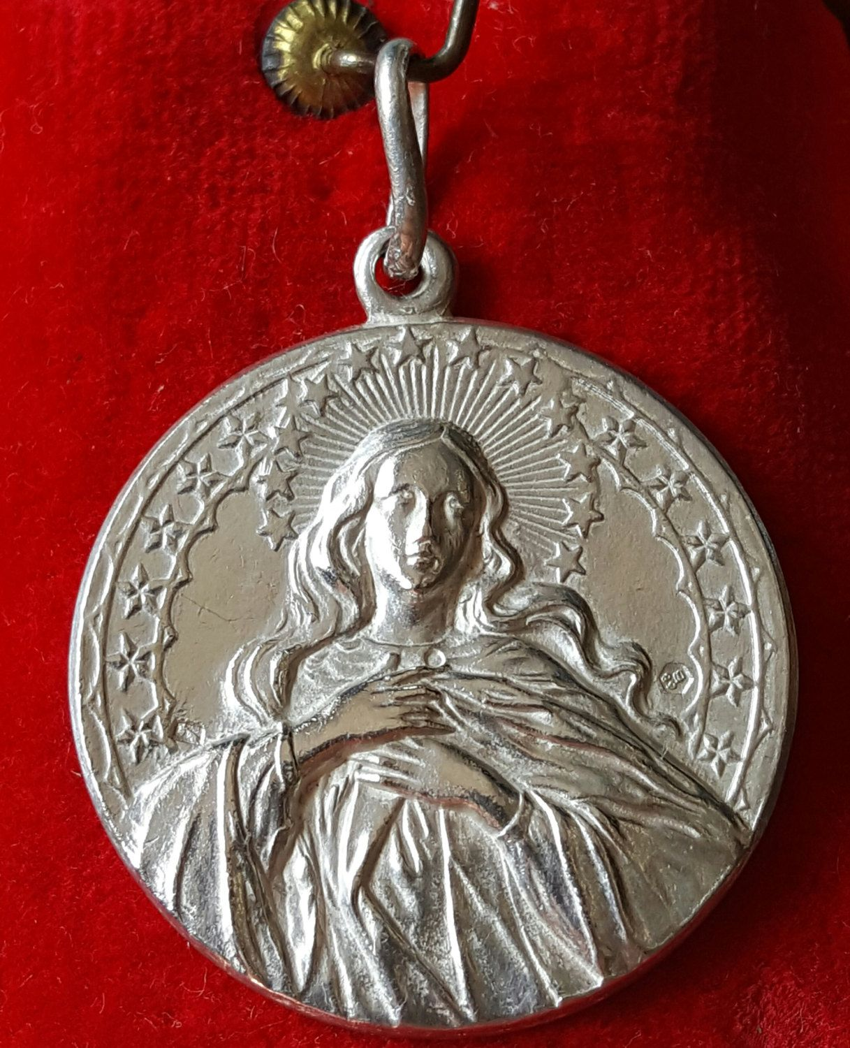 Large Vintage French Blessed Virgin Silver Medal Medallion Art Nouveau Virgin…