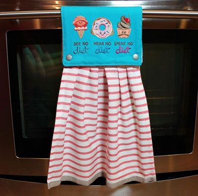 Free project instructions to embroider an In-a-Snap Towel Topper.