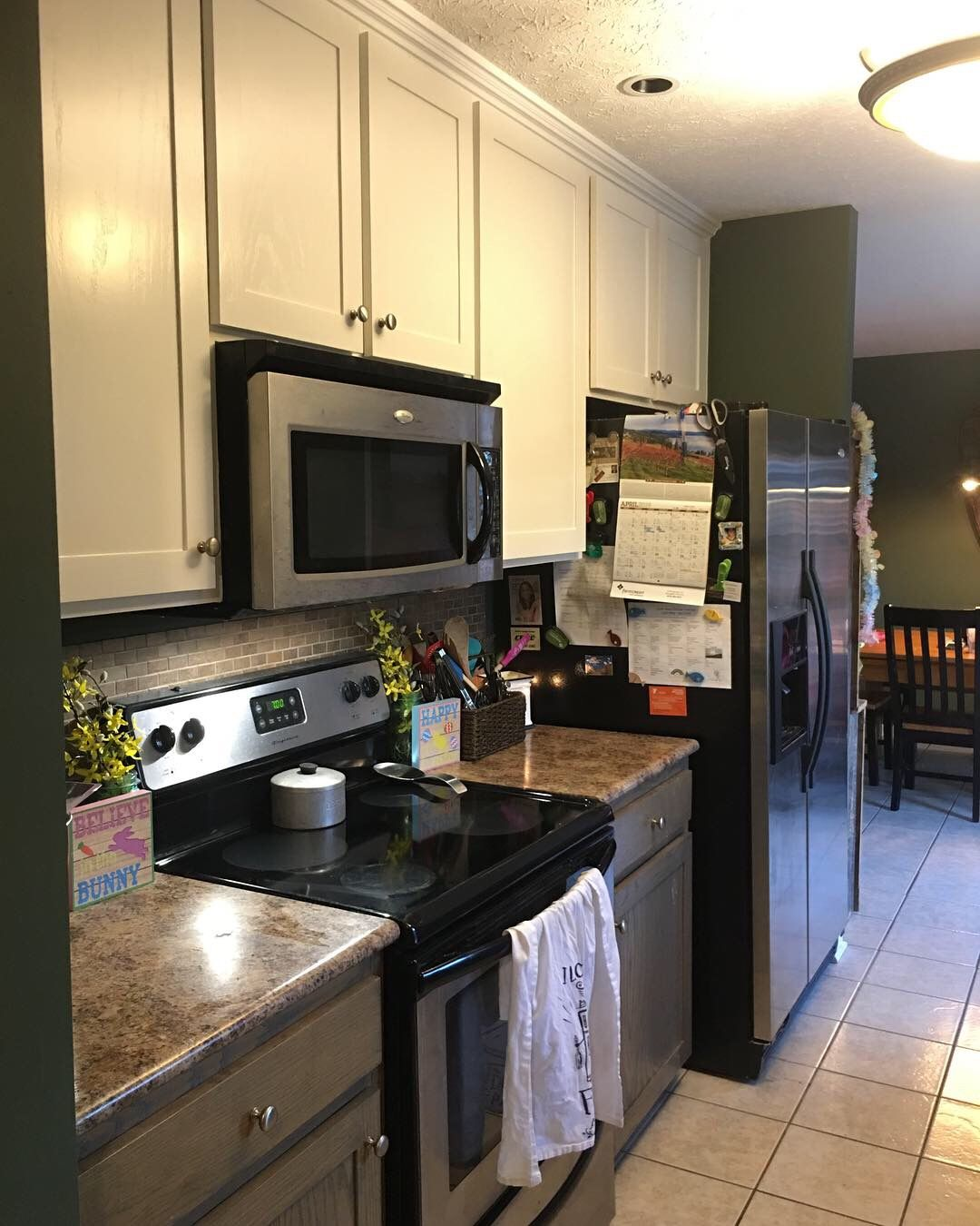 White kitchen cabinets. Painted alabaster white from SW on ...