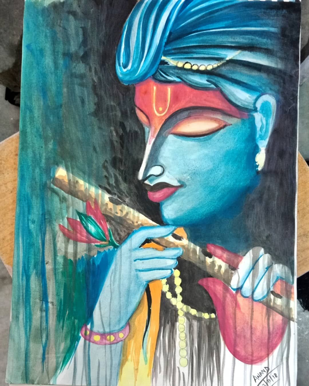 Lord Krishna water color painting in progress😊  Hope you all like