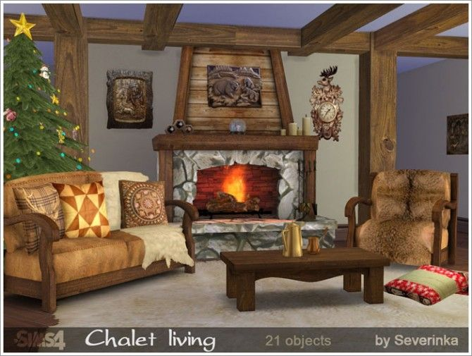 Chalet living at Sims by Severinka via Sims 4 Updates