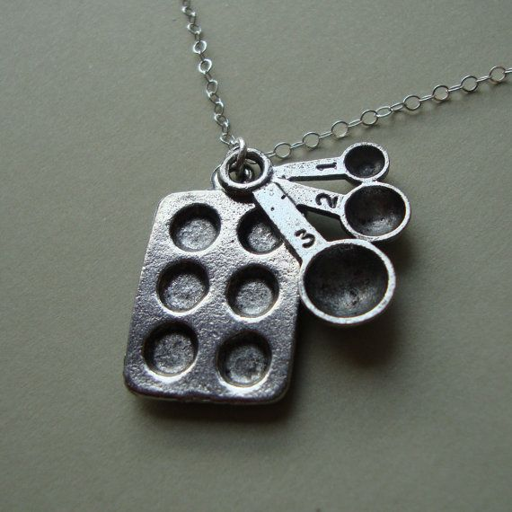 Cupcake pan & measuring spoon necklace