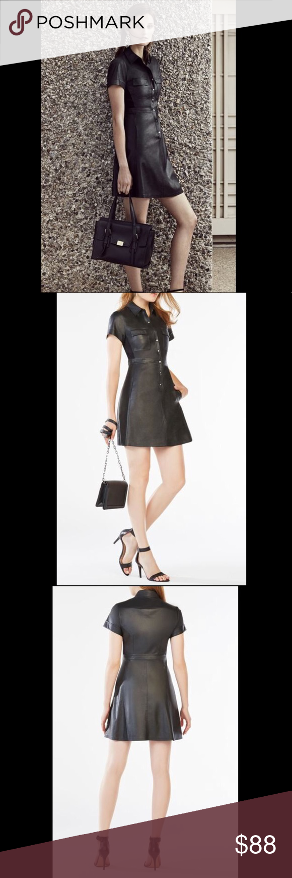 eb1de02b525 BCBG MAXAZRIA Stephana Faux-Leather Shirt Dress The shirt dress gets a Rock   N