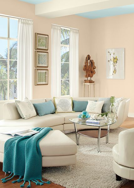 Pair Behr Sea Ice Blue Paint Color With Porcelain Peach And Ballet White To Make Your Room Feel