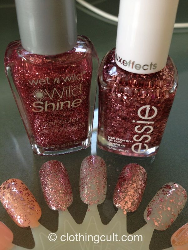 essie a cut above and wet n wild sparkle nail polish swatch ...