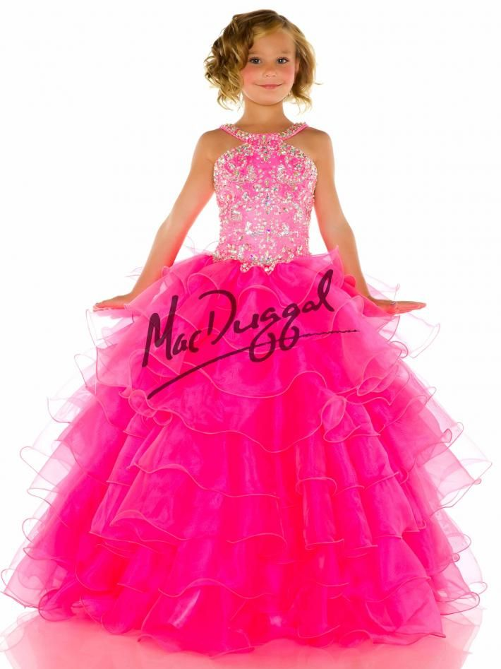 90b1cde9859 Hot Pink Little Girls Pageant Dress with Tulle Skirt | Mac Duggal ...