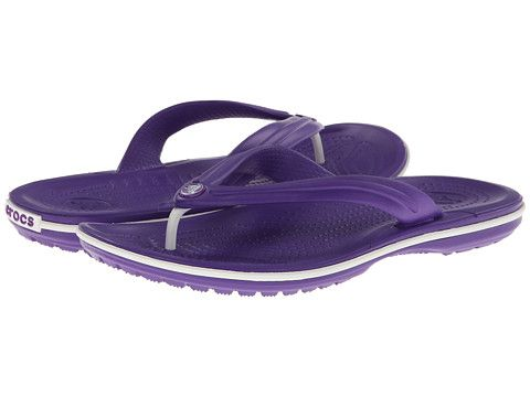 b6a654ecce6ee5 Crocs Crocband Flip Neon Purple White - 6pm.com