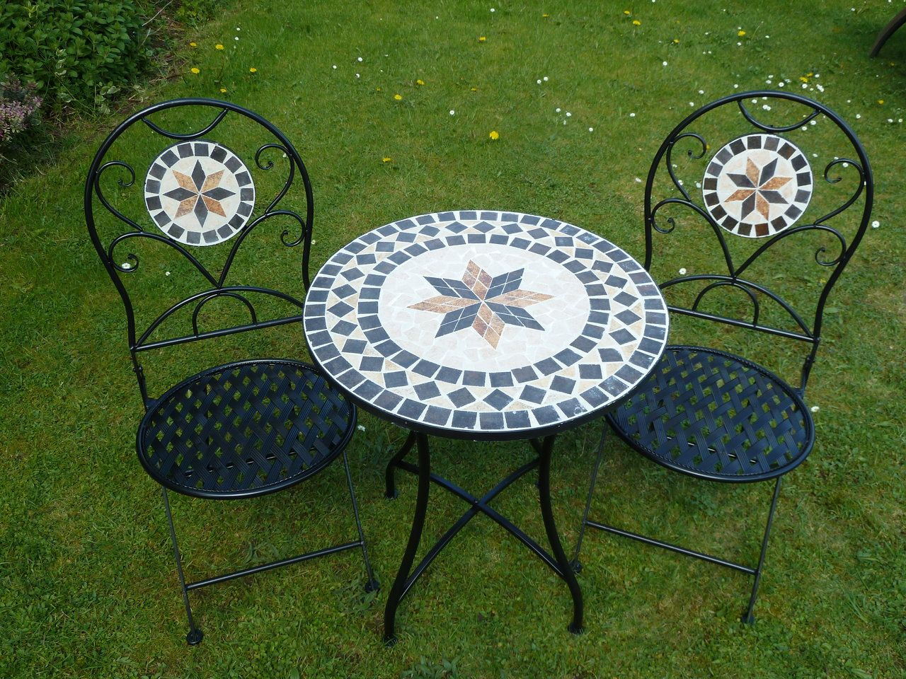 mosaic bistro table sets | Piece Metal Mosaic Bistro Set For Two 60cm Table and 2 Folding Chairs . & UK-Gardens 3 Piece Metal Mosaic Garden Bistro Set For Two 60cm Table ...
